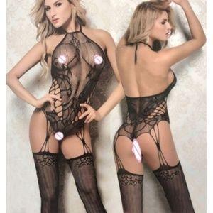 Sexy Black Sheer Lace & Fishnet Body Stocking